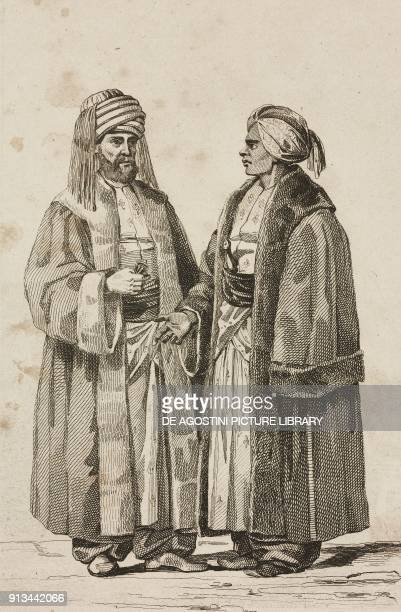 1 Sherif of Mecca 2 Governor of Medina Saudi Arabia engraving by Lemaitre and Chaillot from Arabie by Noel Desvergers avec une carte de l'Arabie et...