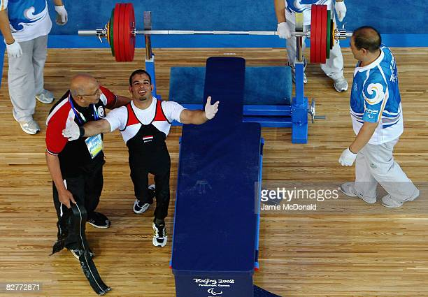 Sherif Othman Othman of Egypt celebrates winning gold in the Men's -56 kg during the Powerlifting at the Beijing University of Aeronautics &...
