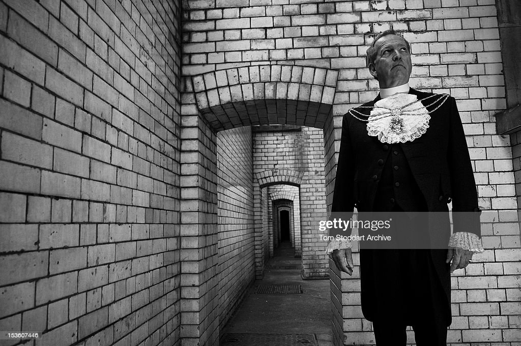Sheriff Alan Yarrow photographed at the Central Criminal Courts, or Old Bailey, in Dead Man's Walk where murderers and criminals would walk from the condemned cell towards their execution at nearby Newgate Prison.