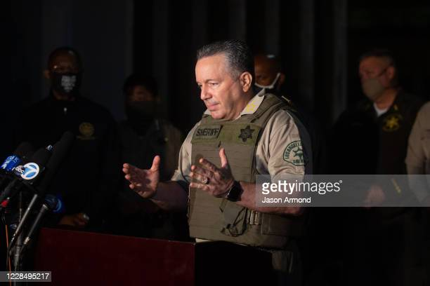 Sheriff Alex Villanueva holds a press conference outside the emergency room of St. Francis Medical Center where two L.A. County sheriffs deputies are...