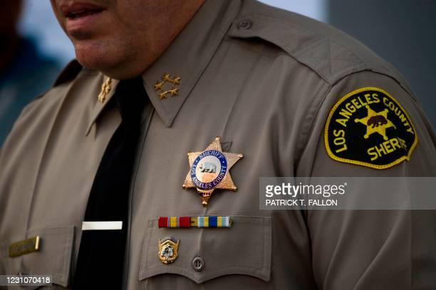 Sheriff Alex Villanueva of the Los Angeles Sheriff's Department speaks about a task force targeting wage theft outside of the Hall of Justice on...