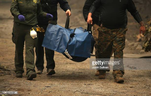 Sheriff deputies carry a body bag with human remains that were discovered at a home that was destroyed by the Camp Fire on November 14 2018 in...