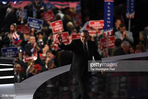 Sheriff Joe Arpaio exits the stage after delivering a speech at the Republican National Convention on Thursday July 21 2016