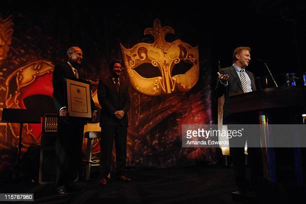 "Sheriff Lee Baca, Gerard Butler and Ryan Kavanaugh attend the Sheriff Baca Foundation's 23rd Annual ""Salute to Youth"" Venetian Masquerade Dinner..."