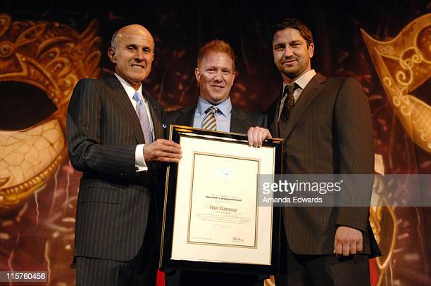 "Sheriff Lee Baca, Ryan Kavanaugh and Gerard Butler attend the Sheriff Baca Foundation's 23rd Annual ""Salute to Youth"" Venetian Masquerade Dinner..."