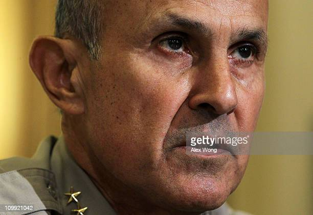 Sheriff Leroy Baca of Los Angeles County, California, testifies during a hearing before the House Homeland Security Committee March 10, 2011 on...