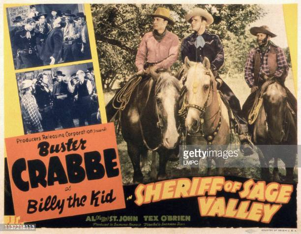 Sheriff Of Sage Valley, poster, US poster, horseback from left: Dave O'Brien, Buster Crabbe, Al St. John, 1946.