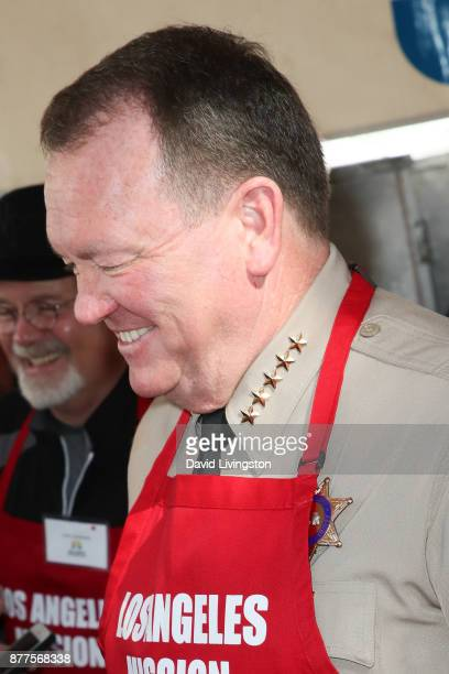Sheriff of the County of Los Angeles in California Jim McDonnell is seen at the Los Angeles Mission Thanksgiving Meal for the homeless at the Los...