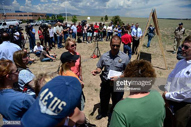 Sheriff Terry Maketa speaks to residents during a press conference held by the El Paso County Sheriff to inform residents of their readmittance...