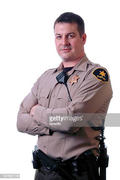 sheriff with crossed arms - sheriff stock pictures, royalty-free photos & images