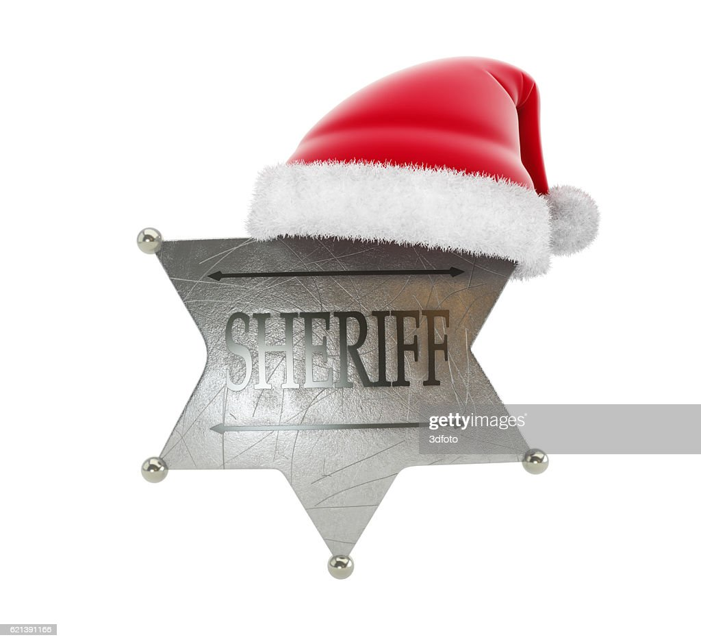 00c39014 sheriff's badge santa hat 3d Illustrations on a white background : Stock  Photo