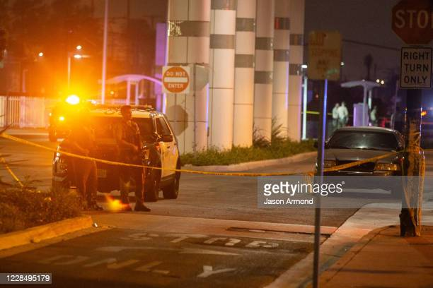 Sheriffs block off streets surrounding the bus station where Two LA County sheriffs deputies shot gravely injured on Saturday Sept 12 2020 in Compton...
