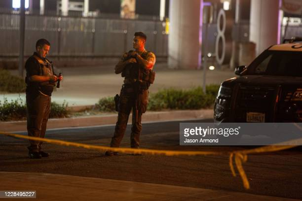 Sheriffs block off streets surrounding the bus station where Two L.A. County sheriffs deputies shot, gravely injured on Saturday, Sept. 12, 2020 in...