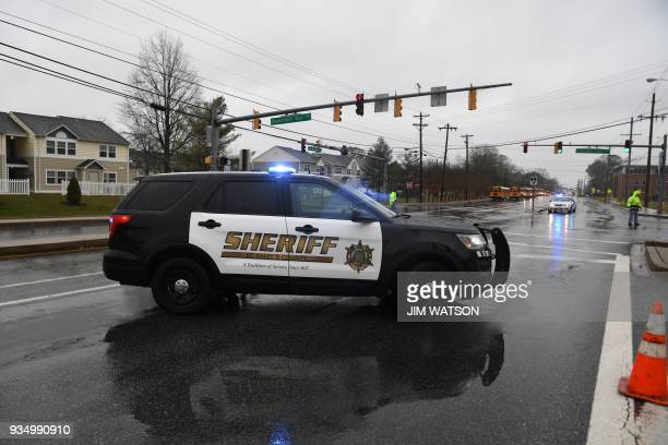 A Sheriff's car is seen on March 20 2018 at Great Mills High School in Great Mills Maryland after a shooting at the school A shooting took place at a...