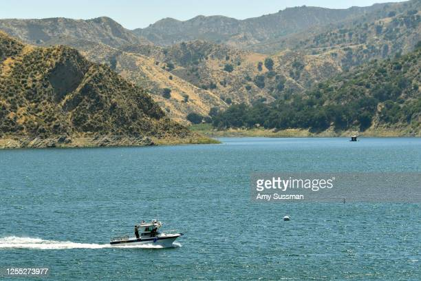 Sheriff's department boat searches Lake Piru, where actress Naya Rivera was reported missing Wednesday, on July 9, 2020 in Piru, California. Rivera,...