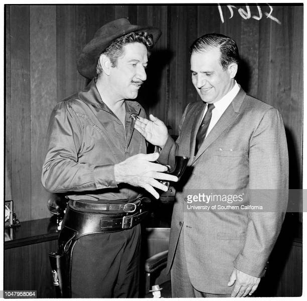Sheriff's office 1961 Richard Boone Sheriff Peter Pitchess Michael Apodaca 8 years Caption slip reads 'Photographer Paegel Date Reporter Benson...