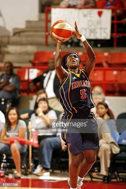 Sherill Baker of the Indiana Fever shoots against the Houston Comets during the game at Reliant Arena on June 28, 2008 in Houston, Texas. The Comets...