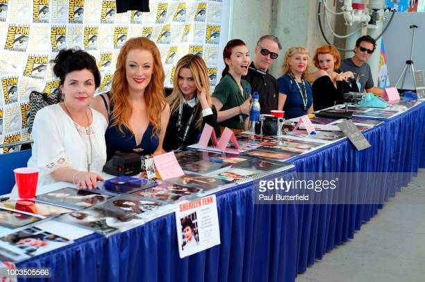Sherilyn Fenn Adele Rene Amy Shiels Chrysta Bell Harry Goaz Kimmy Robertson Nicole LaLiberte and George Griffith attend 'Twin Peaks' autograph...