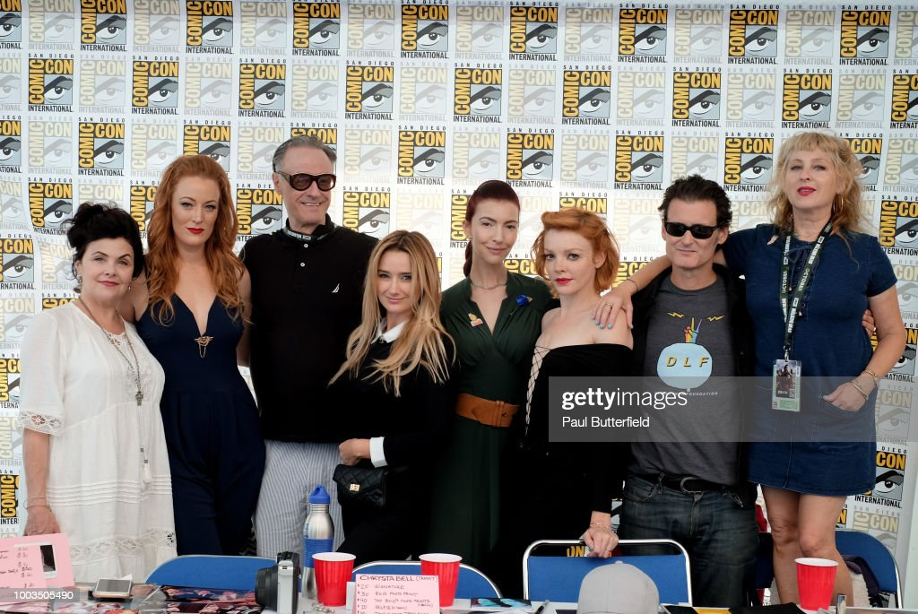 Sherilyn Fenn, Adele Rene, Harry Goaz, Amy Shiels, Chrysta Bell, Nicole LaLiberte, George Griffith, and Kimmy Robertson attend 'Twin Peaks' autograph signings and fan events during Comic-Con International 2018 at San Diego Convention Center on July 21, 2018 in San Diego, California.