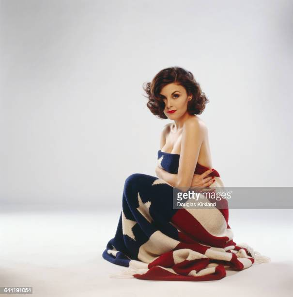 Sherilyn Fenn with American Flag Blanket