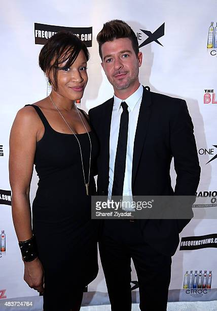 Sherina Florence and Robin Thicke at Stage 48 on August 11 2015 in New York City
