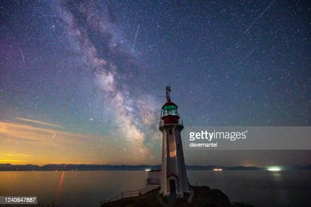 sheringham point lighthouse vancouver island - victoria canada stock pictures, royalty-free photos & images