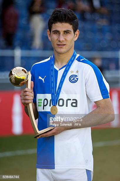 Sherko Dubari of Grasshopper Club Zurich receives the Best Player adidas Golden Ball trophy after the FIFA Blue Stars 2016/FIFA Youth Cup on May 5...