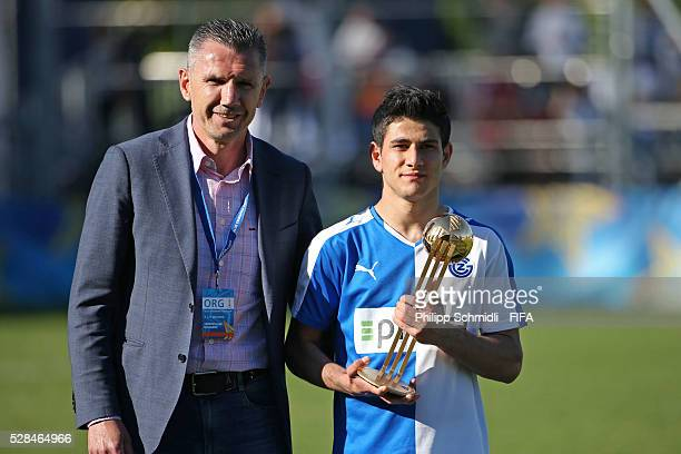 Sherko Dubari of Grasshopper Club Zurich receives the Best Player adidas Golden Ball trophy from Petar Aleksandrov after the FIFA Blue Stars...