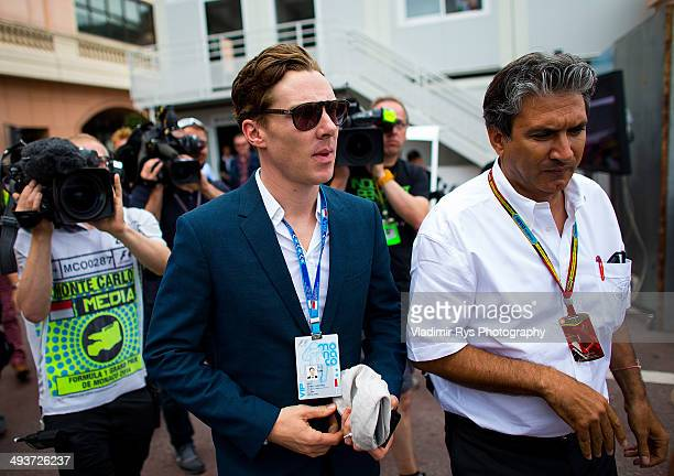 Sherlock Holmes actor Benedict Cumberbatch arrives in the paddock ahead of the Monaco Formula One Grand Prix at Circuit de Monaco on May 25 2014 in...