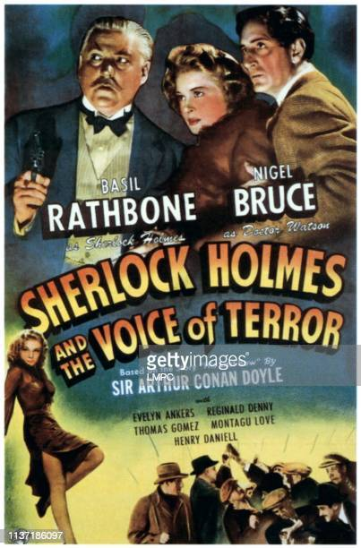 Sherlock Holmes And The Voice Of Terror poster top from left Nigel Bruce Evelyn Ankers Basil Rathbone 1942