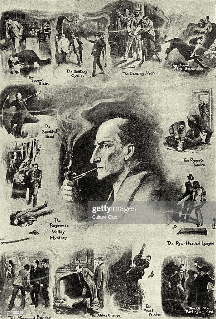 Sherlock Holmes and twelve scenes from his career. Illustration by Sidney Paget. Scottish author and crime writer 22 May 1859–7 July 1930