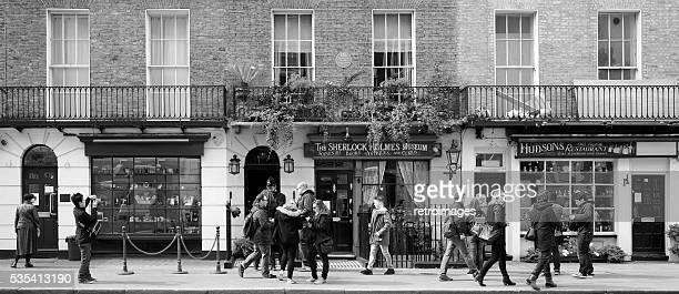 Sherlock Holmes' house, 221b Baker Street, London (black and white)