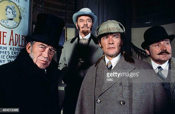MOVIES Sherlock Holmes in New York Pictured John Huston as Professor Moriarty Roger Moore as Sherlock Holmes Patrick Macnee as Doctor Watson