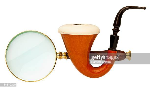 Sherlock Holmes Pipe & Magnifying Glass on White Background.