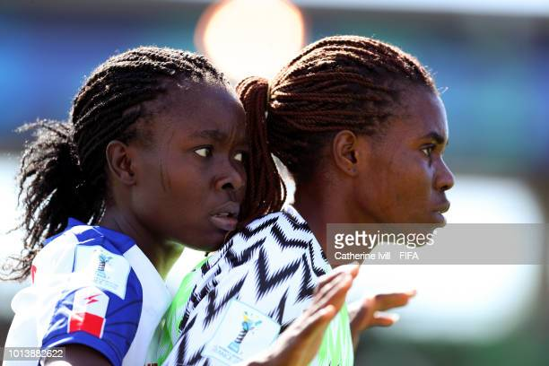 The teams line up before the FIFA U20 Women's World Cup France 2018 group D match between Haiti and Nigeria on August 9 2018 in SaintMalo France
