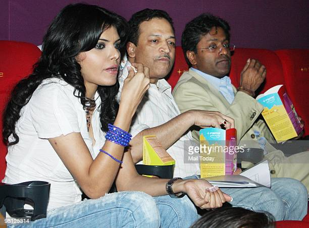 Sherlyn Chopra and Lalit Modi at a live screening of the an Indian Premier League3 match at a theatre in Mumbai on March 28 2010