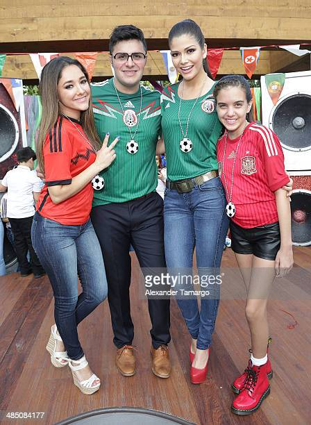 Sherlyn Gonzalez, Paul Stanley and Ana Patricia Gonzalez pose during FIFA World Cup Trophy Tour on the set of Despierta America at Univision...