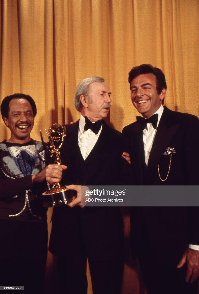 Sherman Helmsley, Jack Albertson and Mike Connors in the press room at the 28th Annual Primetime Emmy Awards on May 17, 1976 at The Shubert Theatre in Los Angeles, California