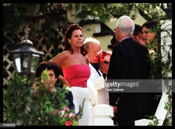05/30/99 Sherman Oaks CA Newly weds Richard and Janelle Dreyfuss exchange loving touches on their wedding day at their home in Sherman Oaks PIcture...