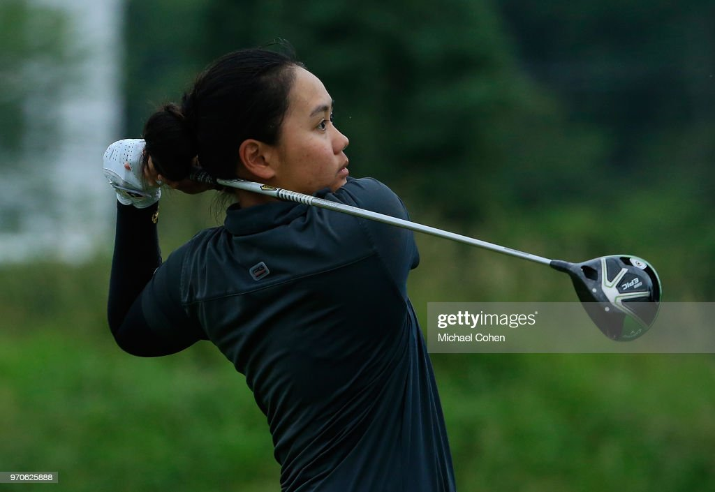 Sherman Santiwiwatthanaphong of Thailand hits her drive on the fourth hole during the second round of the ShopRite LPGA Classic Presented by Acer on the Bay Course at Stockton Seaview Hotel and Golf Club on June 9, 2018 in Galloway, New Jersey.