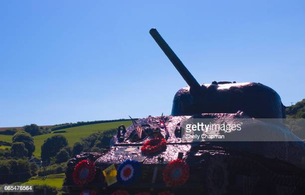 sherman tank, torcross memorial, devon - armored tank stock photos and pictures
