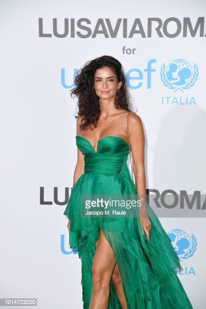 Shermine Shahrivar attends a photocall for the Unicef Summer Gala Presented by Luisaviaroma at Villa Violina on August 10 2018 in Porto Cervo Italy