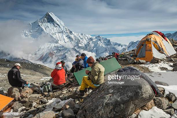 Sherpa mountaineers at expedition base camp Himalaya Nepal