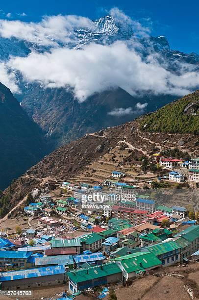 Sherpa village Namche Bazaar tè rifugi Everest NP Himalaya in Nepal