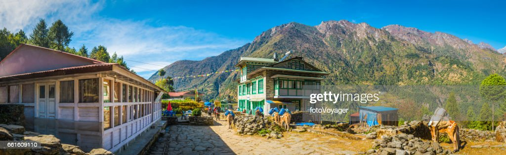 Sherpa village teahouses on Everest Base Camp trail Himalayas Nepal : Stock Photo