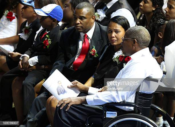 Sherra Wright exwife of Lorenzen Wright and Herbert Wright Sr father of Lorenzen Wright sit during a memorial service honoring the life of Lorenzen...