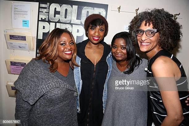 Sherri Shepard Jennifer Hudson Octavia Spencer and Carla Hall pose backstage at the hit musical 'The Color Purple' on Broadway at The Jacobs Theatre...