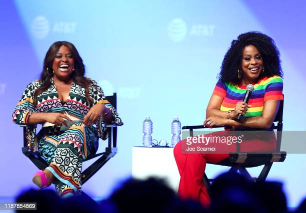 Sherri Shepherd and Niecy Nash speak onstage during the 'A Master Class with Niecy Nash' panel at ATT SHAPE at Warner Bros Studios on June 23 2019 in...