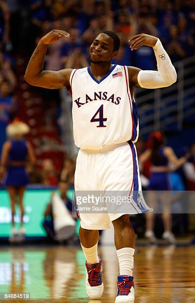 Sherron Collins of the Kansas Jayhawks reacts after scoring during the game against the Oklahoma State Cowboys on February 7 2009 at Allen Fieldhouse...
