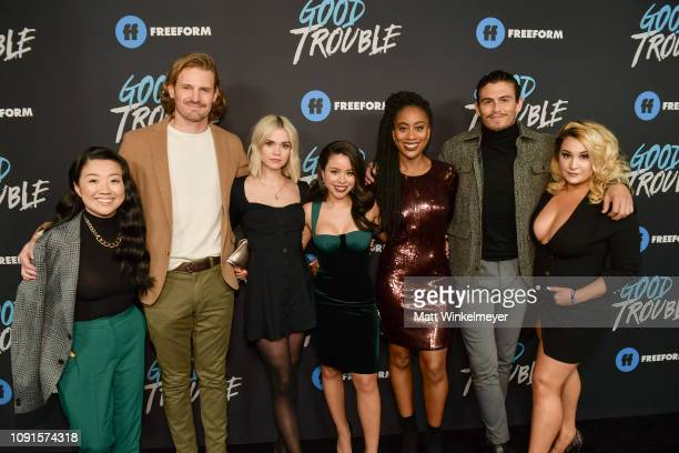 Sherry Cola Josh Pence Maia Mitchell Cierra Ramirez Zuri Adele Tommy Martinez and Emma Hunton attend the premiere of Freeform's Good Trouble at...